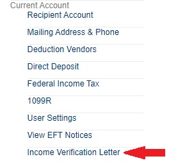 Income Verification Screenshot